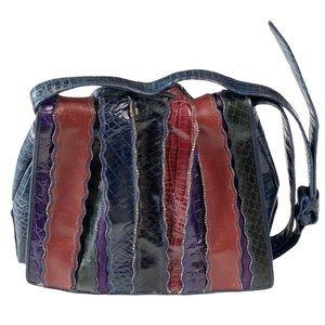 Vintage: Sharif ♕ Rainbow Snakeskin Crossbody Bag